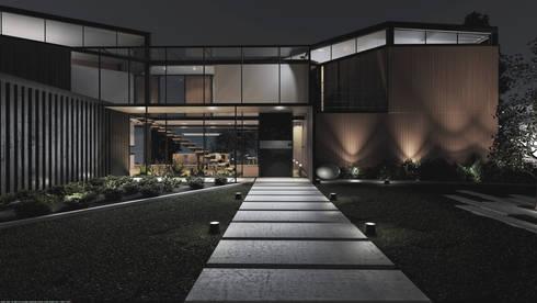 Casa C-J: Casas campestres de estilo  por Adrede Diseño