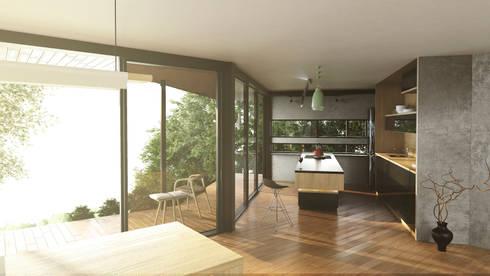 Cocina con vista: Cocinas integrales de estilo  por Adrede Diseño