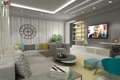 New Town Heights: modern Living room by Matter Of Space Pvt. Ltd.