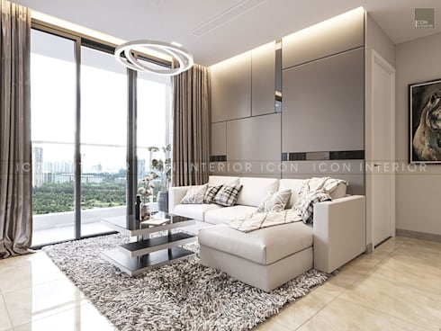 AQUA 4 VINHOMES GOLDEN RIVER – DESIGNED BY ICON INTERIOR:  Phòng khách by ICON INTERIOR