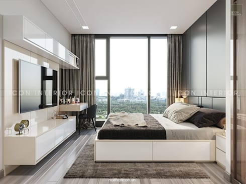 AQUA 4 VINHOMES GOLDEN RIVER – DESIGNED BY ICON INTERIOR:  Phòng ngủ by ICON INTERIOR