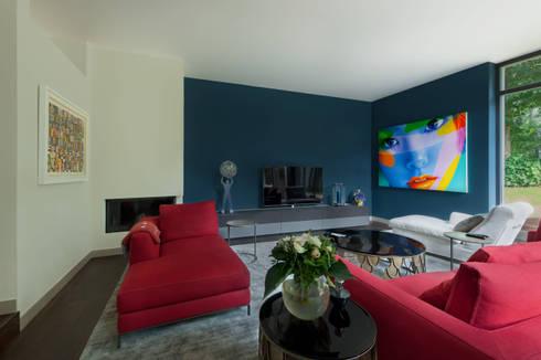 Wohnzimmer Wandgestaltung mit Hague Blue von Farrow and Ball in ...