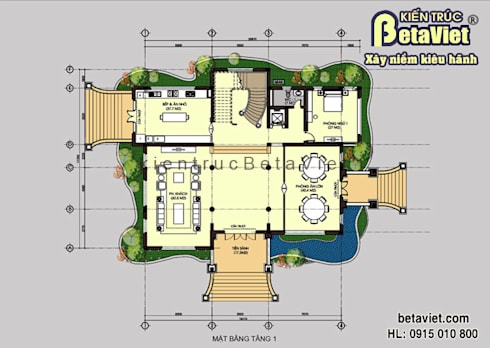 Mặt bằng tầng 1 mẫu thiết kế lâu đài dinh thự đẹp 3 tầng (CĐT: Ông Khâm - Lào Cai) BT14390:   by Công Ty CP Kiến Trúc và Xây Dựng Betaviet
