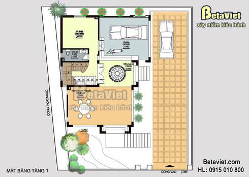 Mặt bằng tầng 1 mẫu thiết kế dinh thự 3 tầng đẹp (CĐT: Ông Hùng - Hải Phòng) BT15011:   by Công Ty CP Kiến Trúc và Xây Dựng Betaviet