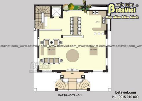 Mặt bằng tầng 1 mẫu thiết kế dinh thự đẹp 4 tầng Cổ điển (CĐT: Ông San - Hà Nội) BT14463:   by Công Ty CP Kiến Trúc và Xây Dựng Betaviet