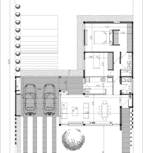 Plano planta baja: Casas unifamiliares de estilo  por I.S. ARQUITECTURA