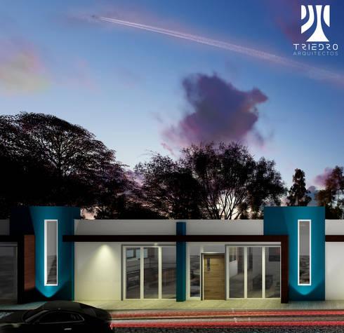 fachada indiana: Casas de estilo minimalista por TRIEDROARQUITECTOS