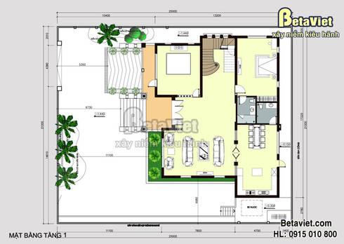 Mặt bằng tầng 1 mẫu thiết kế lâu đài - dinh thự 3 tầng Hiện đại đẹp (CĐT: Bà Mai - Vĩnh Phúc) BT15008:   by Công Ty CP Kiến Trúc và Xây Dựng Betaviet