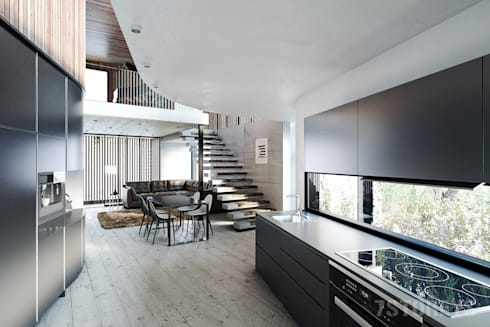 Kitchen and Lounge: minimalistic Living room by 7Storeys