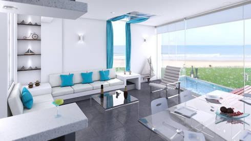 Casa de Playa – Mejía: Salas de entretenimiento de estilo moderno por Inception Architects