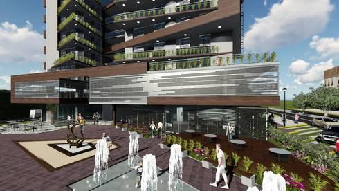 Vista plaza de acceso: Jardines en la fachada de estilo  por Vida Arquitectura