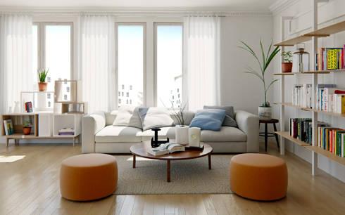 Renders de Interiores: Livings de estilo moderno por Valantia Studio