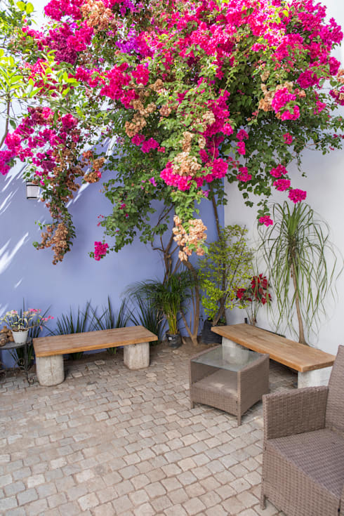 Jardin de descanso: Jardines de estilo mediterraneo por Bojorquez Arquitectos SA de CV