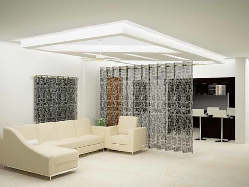 County dark: asian Living room by Inshows Displays Private Limited