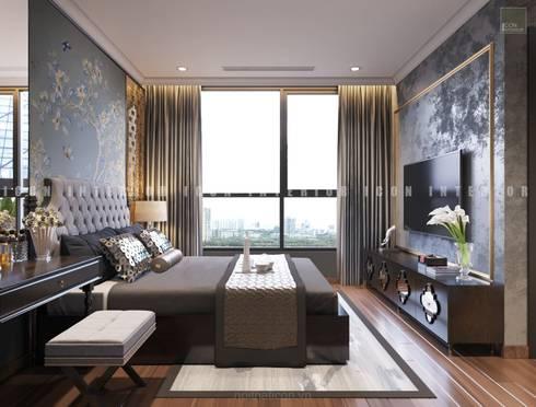 Nội thất căn hộ Vinhomes Central Park thiết kế theo phong cách Đông Dương:  Phòng ngủ by ICON INTERIOR