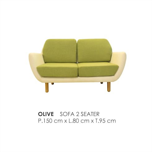 OLIVE  SOFA 2 SEATER :  Living room by VIKU FURNITURE & INTERIOR DESIGN