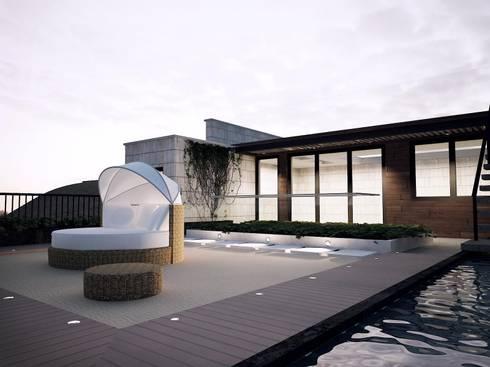 Conjunto Bifamiliar Playa Caballeros: Terrazas de estilo  por Artem arquitectura