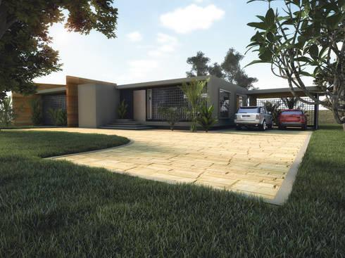 Fachada Principal: Casas campestres de estilo  por Gliptica Design