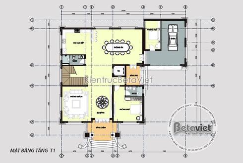 Mặt bằng tầng 1 mẫu thiết kế biệt thự dinh thự đẹp 4 tầng Tân cổ điển (CĐT: Bà Lan - Hà Nội) KT17042:   by Công Ty CP Kiến Trúc và Xây Dựng Betaviet