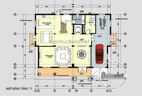 Mặt bằng tầng 1 mẫu thiết kế biệt thự kiến trúc châu Âu Tân cổ điển 3 tầng (CĐT: Ông Mã - Hà Nội) KT16117:   by Công Ty CP Kiến Trúc và Xây Dựng Betaviet