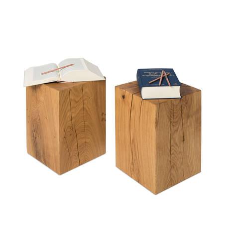 Holzblock Hocker 30x30x45 Cm Eiche Massiv: Rustikale Wohnzimmer Von  Möbelmanufaktur GreenHaus
