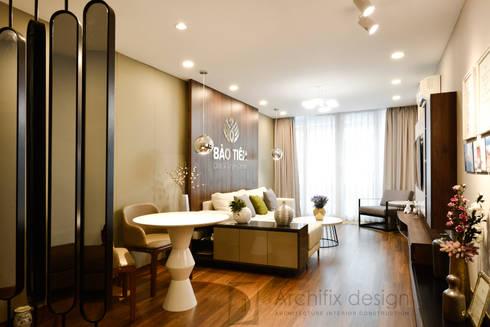 DỰ ÁN THIẾT KẾ THI CÔNG : CẢI TẠO NHÀ PHỐ - NHÀ Ở TƯ NHÂN:  Phòng khách by Archifix Design