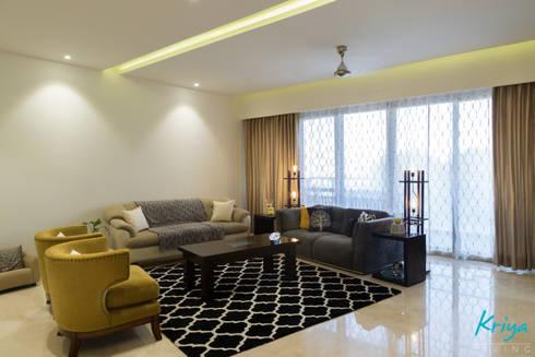 3 BHK Apartment—Raheja Pebble Bay: modern Living room by KRIYA LIVING