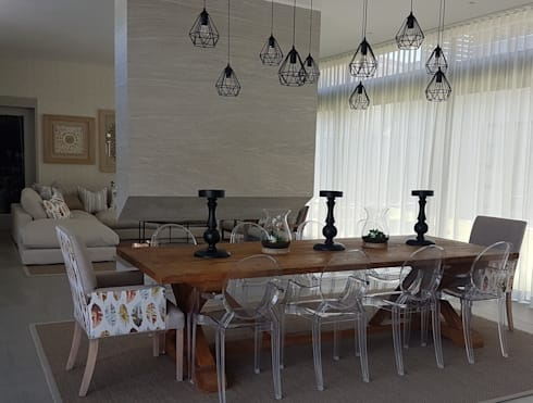 Copper & Grey Tones: modern Dining room by Sophistique Interiors