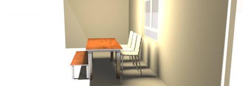 3D de mobiliario propuesto para zona anexa a sala: Salas/Recibidores de estilo minimalista por Minimalistika.com