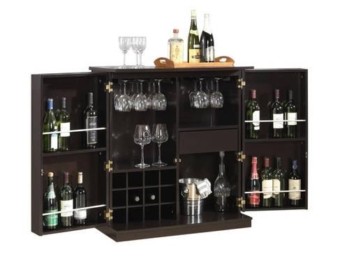 BAXTON STUDIO STAMFORD DARK BROWN MODERN BAR CABINET: modern Wine cellar by Perfect Home Bars