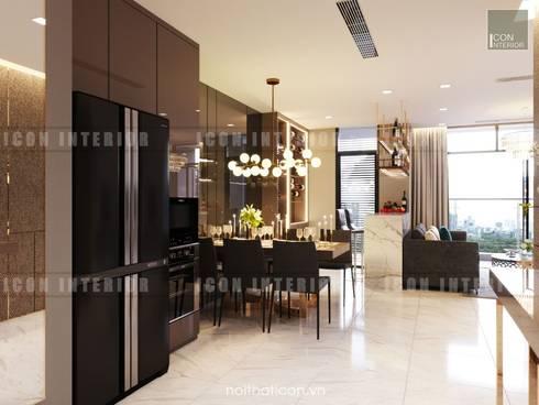 Nội thất Châu Âu hiện đại trong căn hộ Vinhomes Central Park:  Phòng ăn by ICON INTERIOR