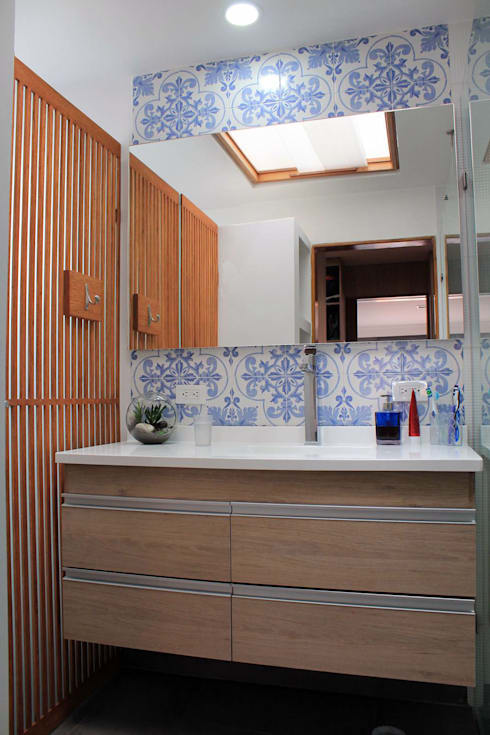 Lavamanos: Baños de estilo  por ATELIER HABITAR