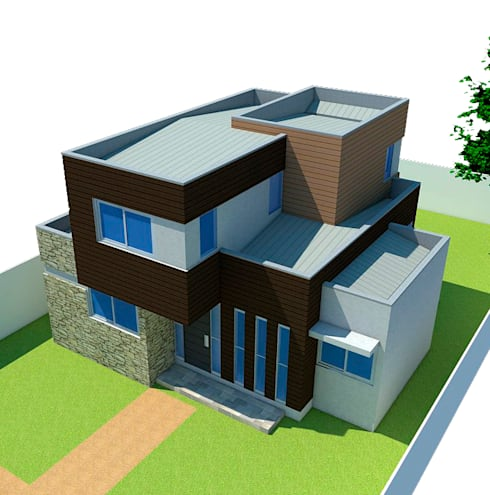 Vista superior frontal: Casas de estilo mediterraneo por DIMA Arquitectura y Construcción