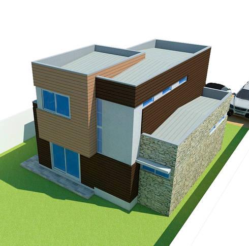 Vista superior posterior: Casas de estilo mediterraneo por DIMA Arquitectura y Construcción