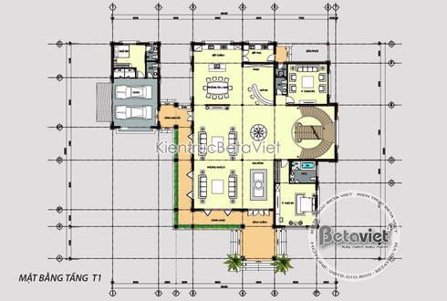 Mặt bằng tầng 1 mẫu thiết kế biệt thự Hiện đại 2 tầng phong cách Á Đông (CĐT: Ông Thắng - Quảng Bình) KT16139:   by Công Ty CP Kiến Trúc và Xây Dựng Betaviet