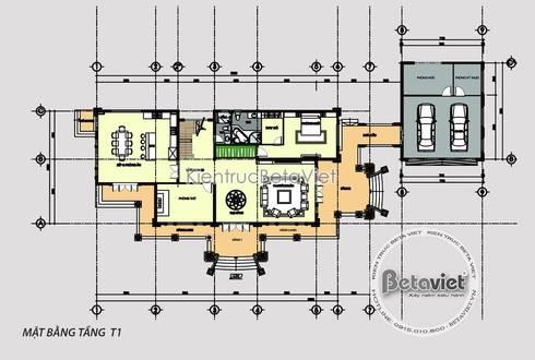 Mặt bằng tầng 1 thiết kế biệt thự vườn 2 tầng kiểu Pháp (CĐT: Ông Thanh - Hà Tĩnh) KT17073:   by Công Ty CP Kiến Trúc và Xây Dựng Betaviet
