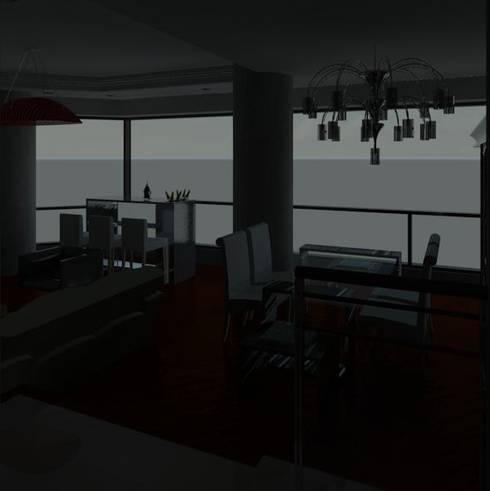 APARTEMENTO DE PLAYA DE LUJO: Salas/Recibidores de estilo moderno por ESTUDIO KULUMAK