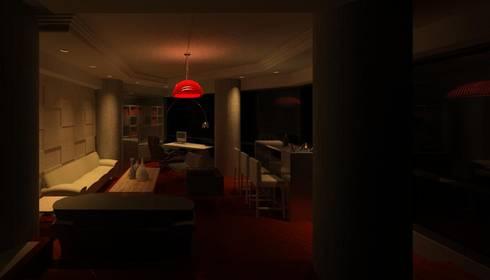 SALA Y BAR: Salas/Recibidores de estilo moderno por ESTUDIO KULUMAK