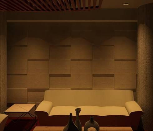 PARED DECORADA: Salas/Recibidores de estilo moderno por ESTUDIO KULUMAK