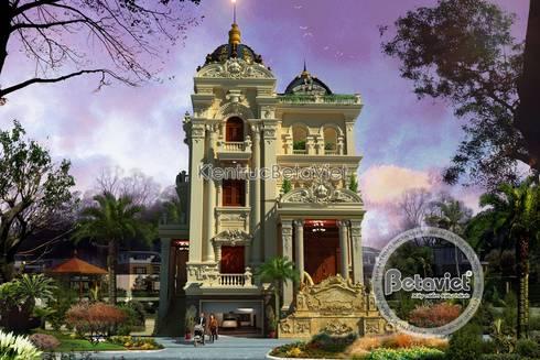 Phối cảnh mẫu thiết kế lâu đài dinh thự đẹp 3 tầng lung linh (CĐT: Ông Úy - Hà Nội) BT15013:   by Công Ty CP Kiến Trúc và Xây Dựng Betaviet