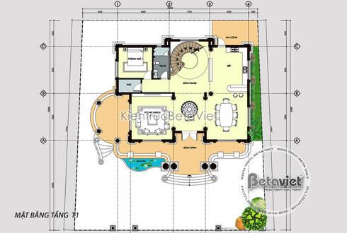 Mặt bằng tầng 1 mẫu thiết kế lâu đài dinh thự 3 tầng kiểu Pháp Tân cổ điển (CĐT: Ông Thái - Bắc Ninh) KT17091:   by Công Ty CP Kiến Trúc và Xây Dựng Betaviet