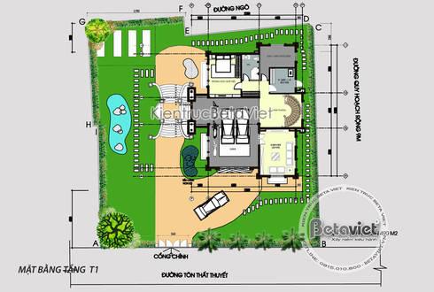 Mặt bằng tầng 1 mẫu lâu đài dinh thự đẹp 3 tầng Tân cổ điển kiến trúc Pháp (CĐT: Ông Sơn - Nghệ An) KT17028:   by Công Ty CP Kiến Trúc và Xây Dựng Betaviet