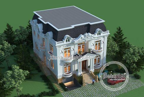 Phối cảnh mẫu thiết kế lâu đài dinh thự hoành tráng 3 tầng Tân cổ điển (CĐT: Ông Hưởng - Bắc Ninh) KT17058:   by Công Ty CP Kiến Trúc và Xây Dựng Betaviet