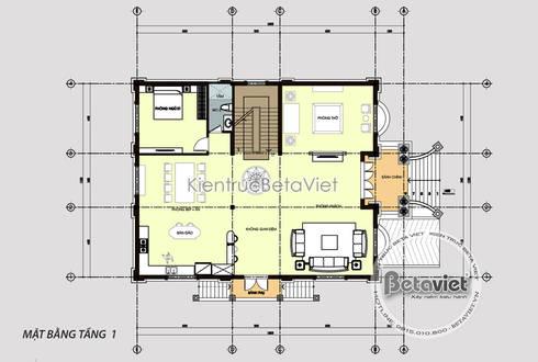 Mặt bằng tầng 1 mẫu thiết kế lâu đài dinh thự hoành tráng 3 tầng Tân cổ điển (CĐT: Ông Hưởng - Bắc Ninh) KT17058:   by Công Ty CP Kiến Trúc và Xây Dựng Betaviet