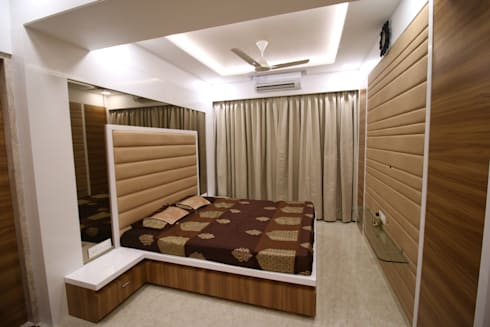 master bed: modern Bedroom by Three Interiors