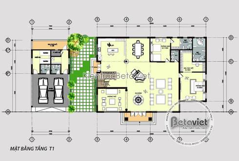 Mặt bằng tầng 1 mẫu thiết kế biệt thự 2 tầng Tân cổ điển đẹp (CĐT: Ông Duẩn - HCM) KT17012:   by Công Ty CP Kiến Trúc và Xây Dựng Betaviet