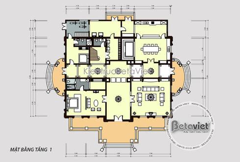 Mặt bằng tầng 1 mẫu thiết kế lâu đài dinh thự đẹp 3 tầng Tân cổ điển (CĐT: Ông Chiến - Thanh Hóa) KT17116:   by Công Ty CP Kiến Trúc và Xây Dựng Betaviet