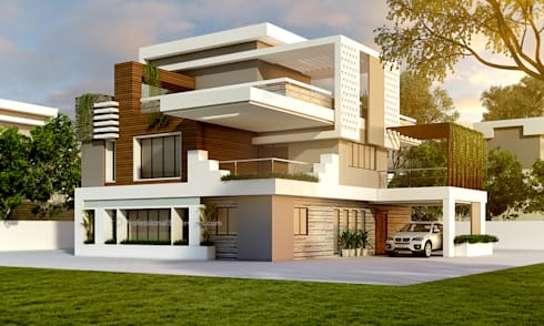 3D Exterior House Design:  Single family home by ThePro3DStudio