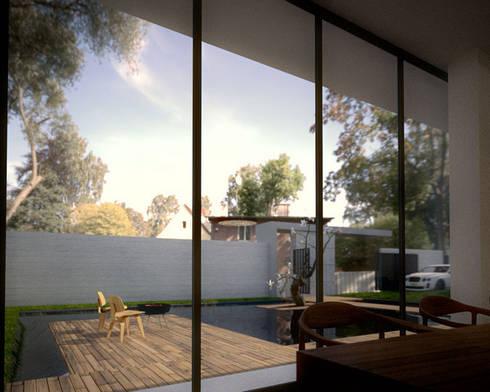 庭園景觀餐廳:  庭院池塘 by 勻境設計 Unispace Designs