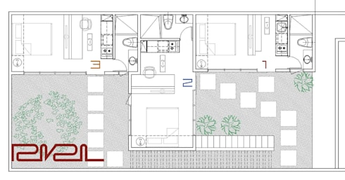 Planta baja Apartaestudios 1, 2 y 3:  de estilo  por RIVAL Arquitectos  S.A.S.